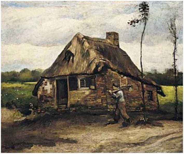 Van Gogh- Cottage with Peasant Coming Home