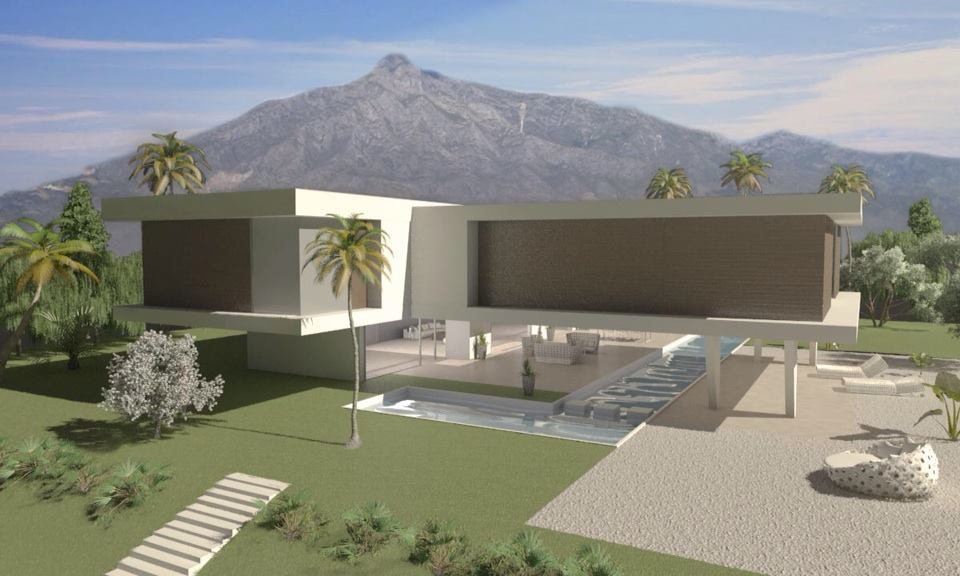 Modern villa project for sale on Golden MIle -Marbella