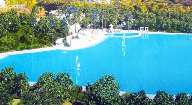 14000m2 crystal lagoon pool development in South of Spain