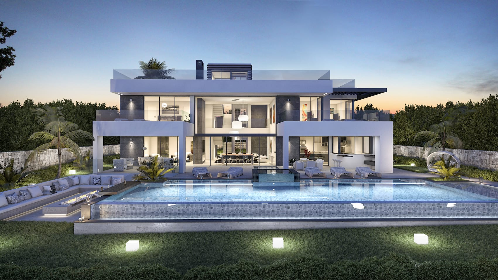 Marbella golden mile modern villa for sale for Modern villa