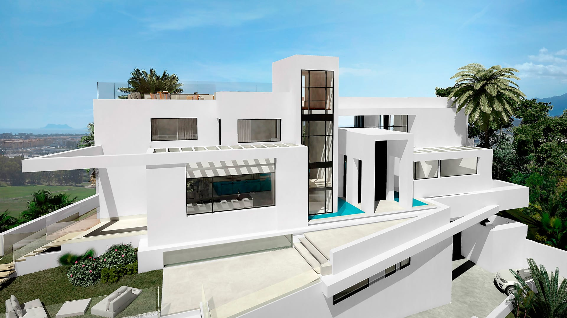 Modern villa nueva andalucia marbella hilltop with sea views for Villa moderne 2016