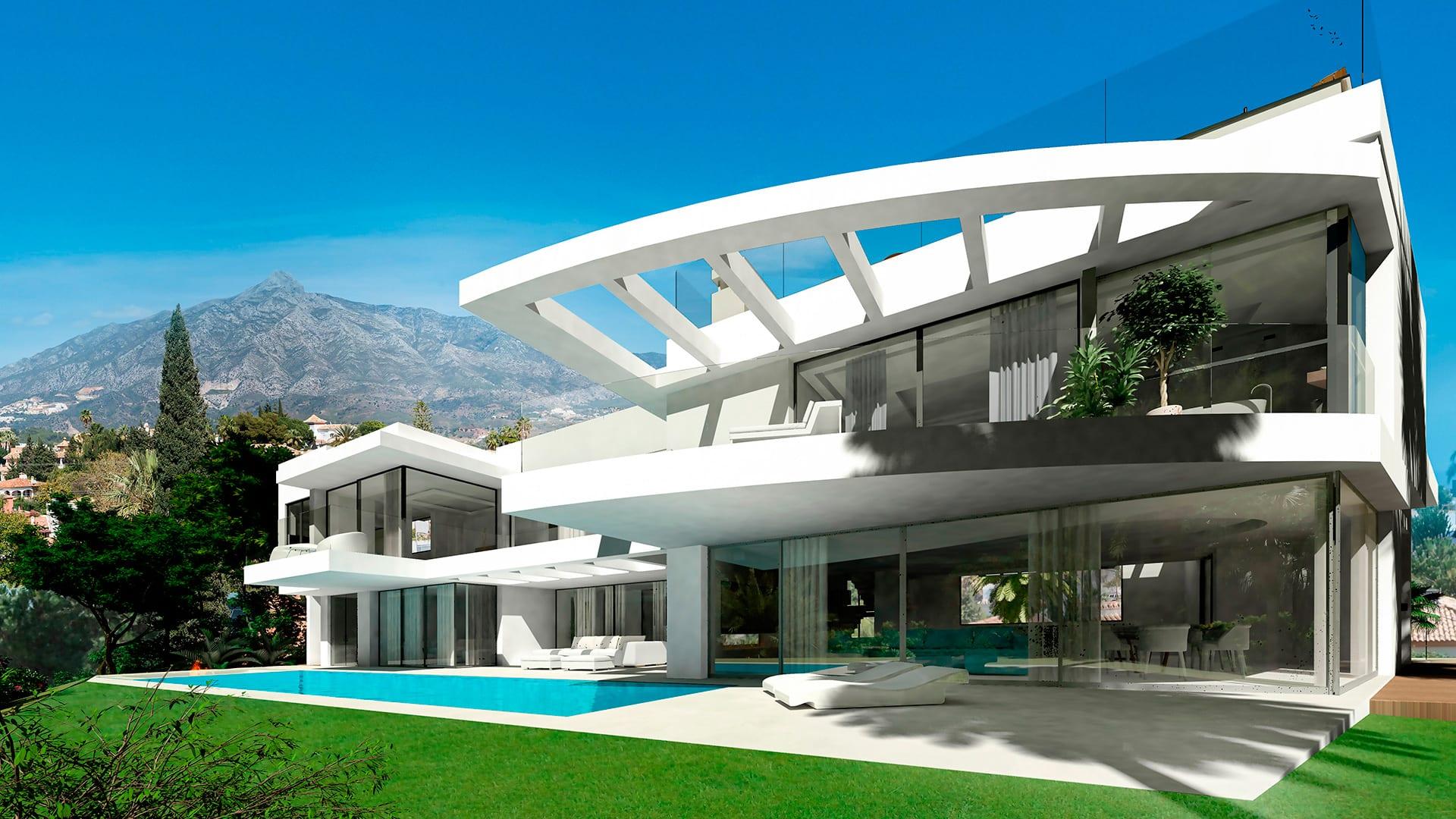 Modern villa nueva andalucia marbella hilltop with sea views for Modern villa