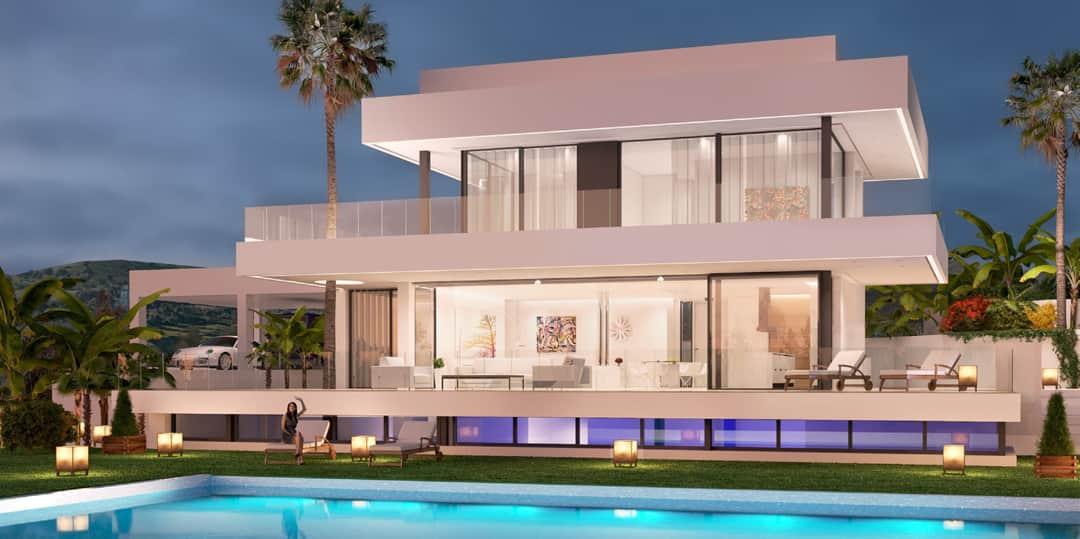 nueva andalucia les villas modernes avec vue imprenable sur la mer. Black Bedroom Furniture Sets. Home Design Ideas