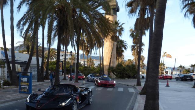Black Laferrari aperta in Marbella Spain, 70 years celebrations Enzo Ferrari