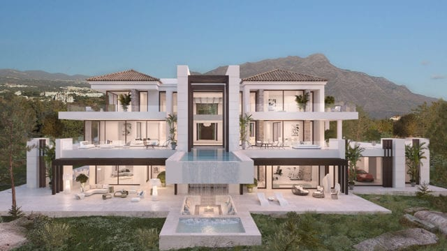 Benahavis off plan modern private hilltop villa Mountain & Sea views