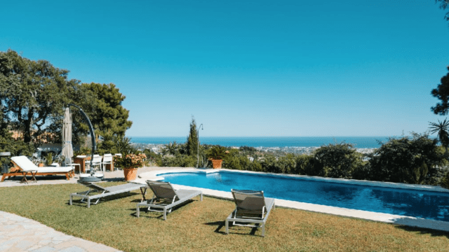 El Madronal Villa with guest house on 10.000m2 flat plot.Sea views